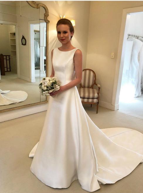 A-Line White Satin Bateau Backless Wedding Dress With Bow