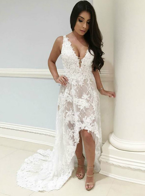 A-Line V-Neck High Low White Wedding Dress with Appliques
