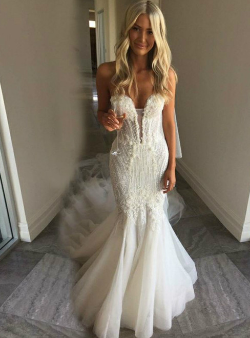 Mermaid Sweetheart Tulle Lace Wedding Dress with Court Train
