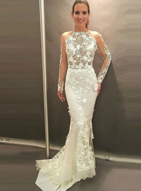 Mermaid Long Wedding Dress Long Sleeves Open Back With Lace