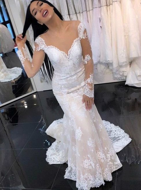 Light Champagne Mermaid Round Neck Long Sleeves Lace Wedding Dress