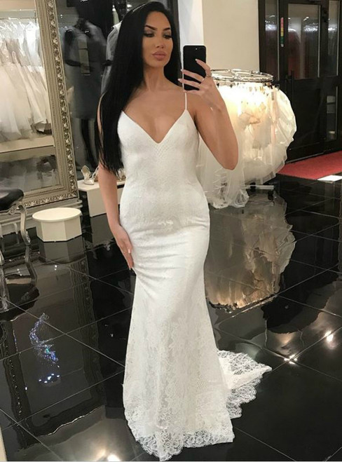 White Mermaid Spaghetti Straps Backless Lace Wedding Dress