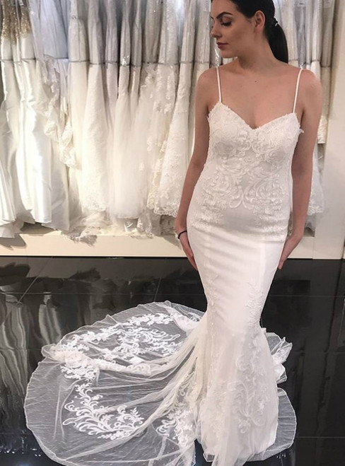 White Mermaid Spaghetti Straps Beach Wedding Dress With Appliques