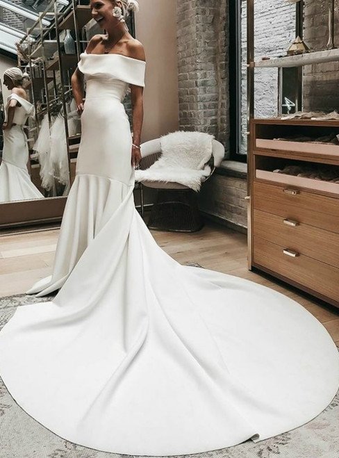 White Satin Mermaid Off the Shoulder Court Train Wedding Dress