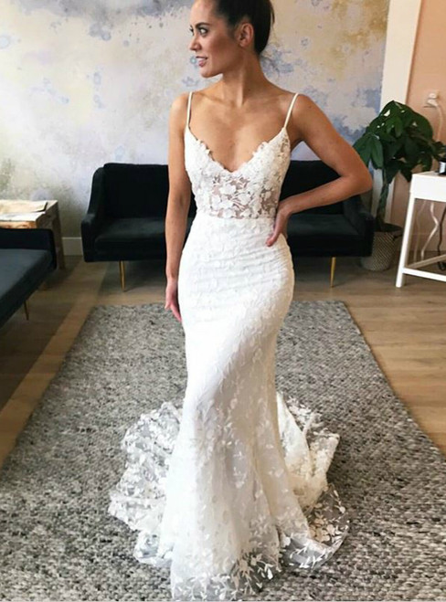 White Mermaid Spaghetti Straps Lace Wedding Dress With Appliques