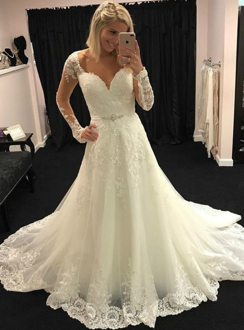 A-Line Sweetheart Long Sleeves Wedding Dress With Appliques