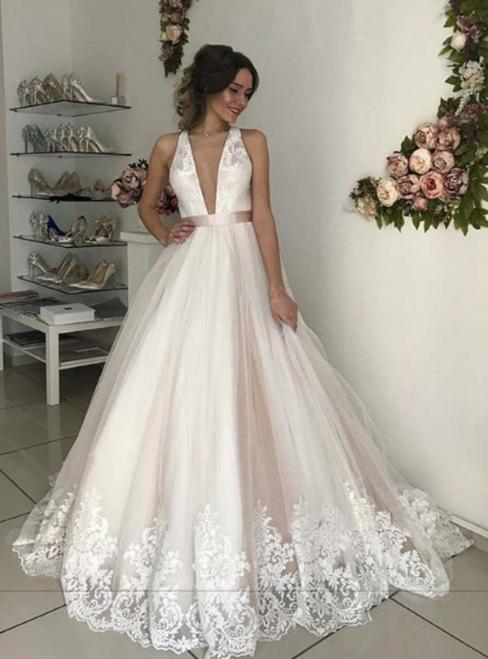 Light Champagne Tulle Lace Appliques Deep V-neck Backless Wedding Dress