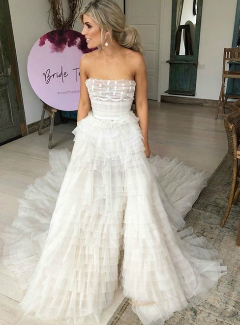 A-Line Strapless Court Train Tiered Tulle Wedding Dress with Belt