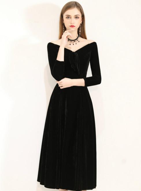 In Stock:Ship in 48 Hours Black Velvet Off the Shoulder 3/4 Sleeve Prom Dress
