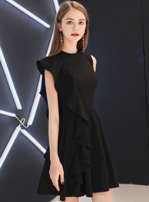 In Stock:Ship in 48 Hours Black Satin Short Homecoming Dress