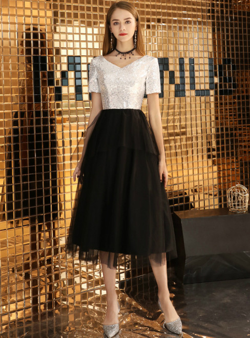 In Stock:Ship in 48 Hours Black Tulle Sequins V-neck Tea Length Prom Dress