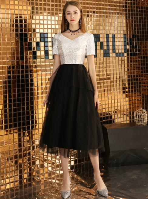 In Stock:Ship in 48 Hours Black Tulle Sequins V-neck Tea Length Prom Dress