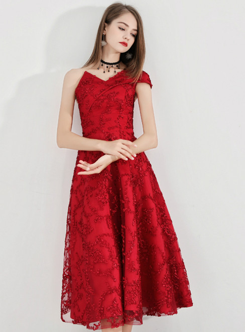 In Stock:Ship in 48 Hours Red Lace One Shoulder Prom Dress