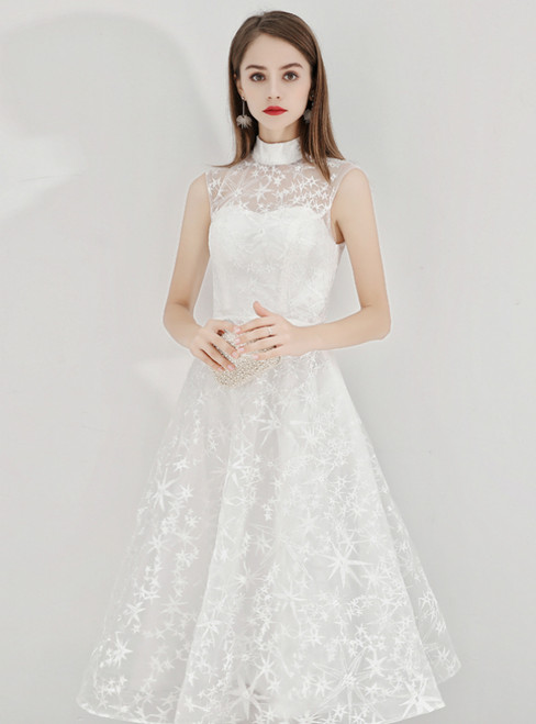 In Stock:Ship in 48 Hours White Lace High Neck Short Prom Dress