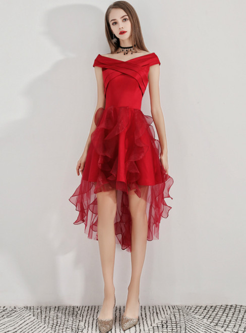 In Stock:Ship in 48 Hours Burgundy Hi Lo Satin Organza Homecoming Dress