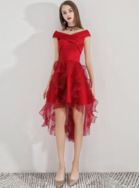 In Stock:Ship in 48 Hours Burgundy Hi Lo Satin Organza Homecoming Dress