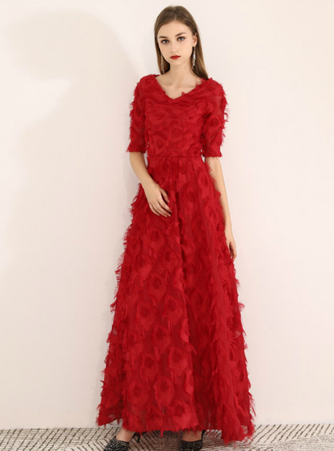 In Stock:Ship in 48 Hours Burgundy V-neck Short Sleeve Prom Dress