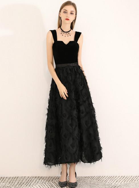 In Stock:Ship in 48 Hours Black Straps Velvet Tea Length Prom Dress