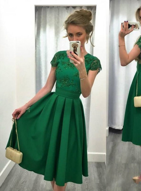 Vintage Green Satin Homecoming Dresses Cap Sleeves Beaded Women Party Dresses