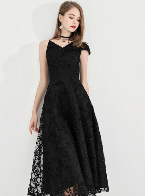 In Stock:Ship in 48 Hours Black Lace One Shoulder Prom Dress