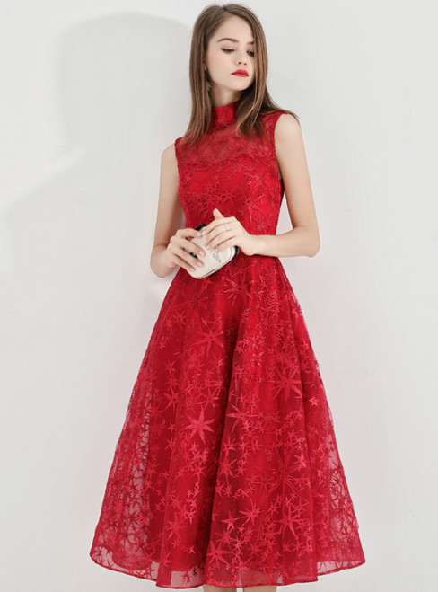 In Stock:Ship in 48 Hours Red High Neck Lace Short Prom Dress