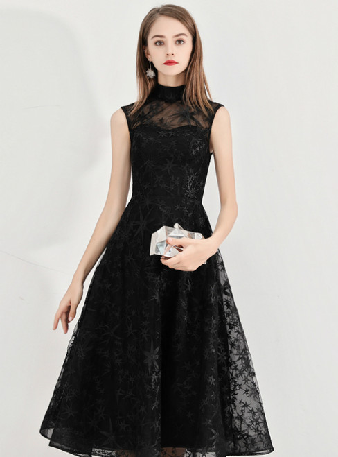 In Stock:Ship in 48 Hours Black High Neck Lace Short Prom Dress