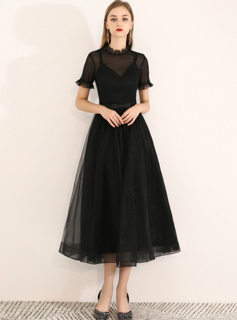 In Stock:Ship in 48 Hours Black High Short Sleeve Prom Dress