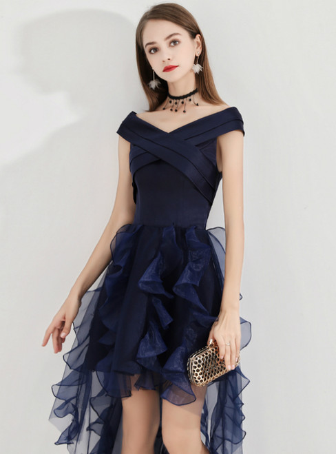 In Stock:Ship in 48 Hours Navy Blue Hi Lo Satin Organza Homecoming Dress