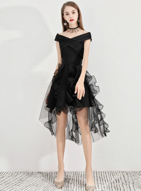 In Stock:Ship in 48 Hours Black Hi Lo Satin Organza Homecoming Dress