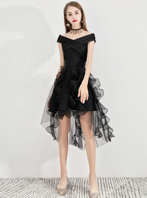 In Stock:Ship in 48 Hours Black Hi Lo Satin Organza Homecoming Dress