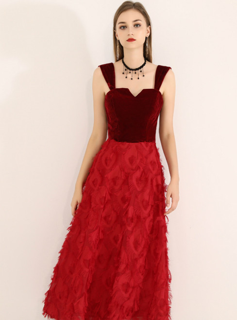 In Stock:Ship in 48 Hours Burgundy Straps Velvet Tea Length Prom Dress