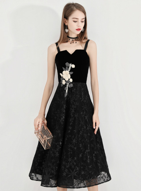 In Stock:Ship in 48 Hours Black Straps Lace Appliques Prom Dress