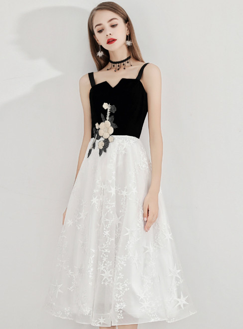 In Stock:Ship in 48 Hours White Straps Lace Appliques Prom Dress