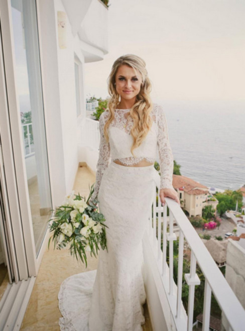 White Lace Mermaid Two Piece Long Sleeve Backless Wedding Dress