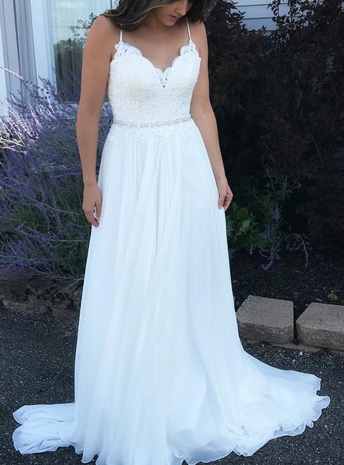 White Chiffon Spaghetti Straps Backless Appliques Boho Wedding Dress