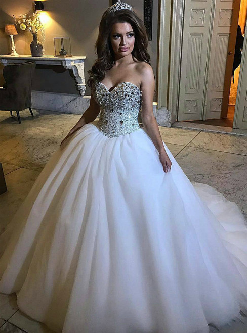 White Ball Gown Tulle Sweetheart Sparkly Corset Wedding Dress With Crystal