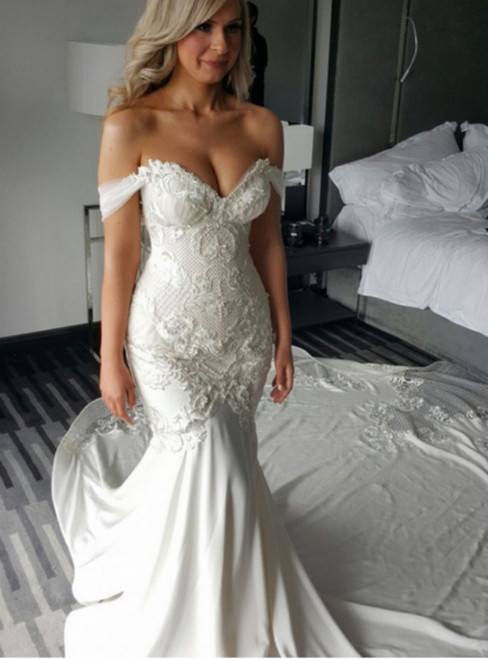 White Mermaid Off The Shoulder Appliques Wedding Dress With Train