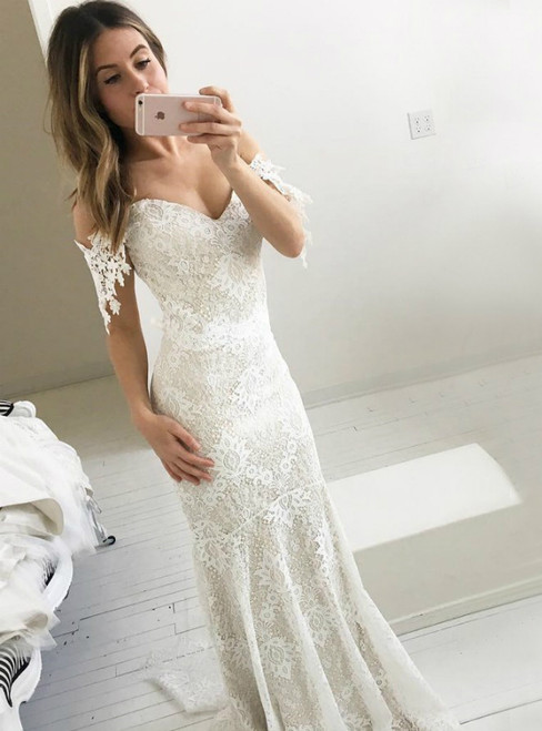 Ivory Mermaid Lace Off The Shoulder Backless Wedding Dress