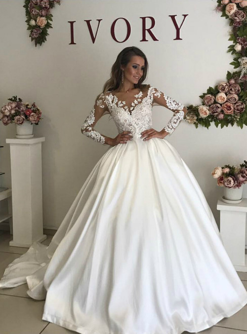 White Ball Gown Satin Long Sleeve Appliques Wedding Dress With Train