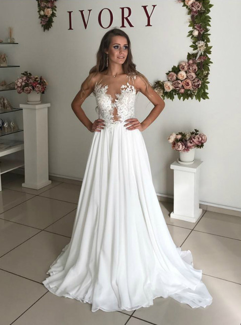 A-Line White Chiffon Appliques See Through Boho Wedding Dress