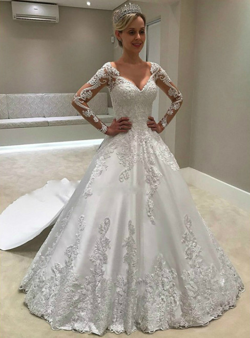 White Ball Gown Satin Appliques V-neck Long Sleeve Wedding Dress