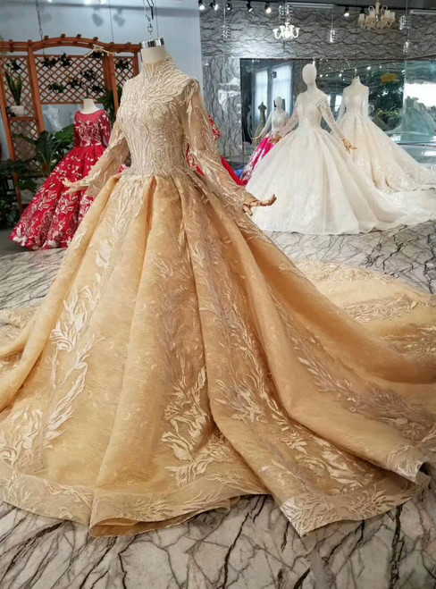 Gold Ball Gown Tulle Appliques High Neck Long Sleeve Wedding Dress