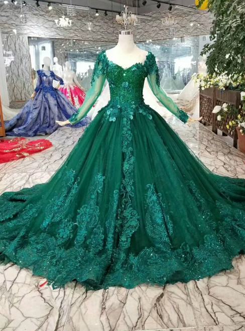 Green Ball Gown Tulle Appliques Long Sleeve Wedding Dress With Beading
