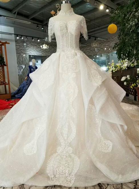 Light Champagne Ball Gown Sequins High Neck Backless Cap Sleeve Wedding Dress