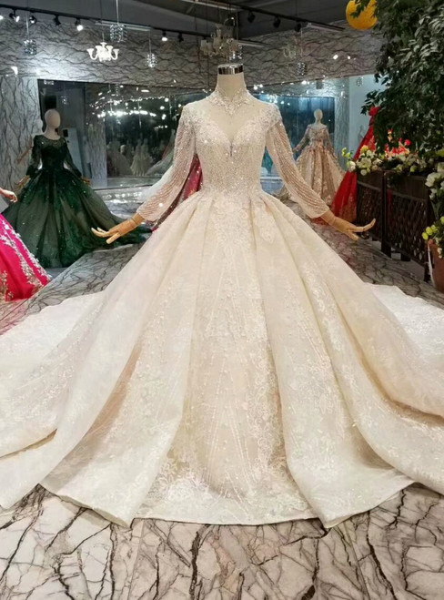 Light Champagne Ball Gown High Nack Backless Long Sleeve With Beading