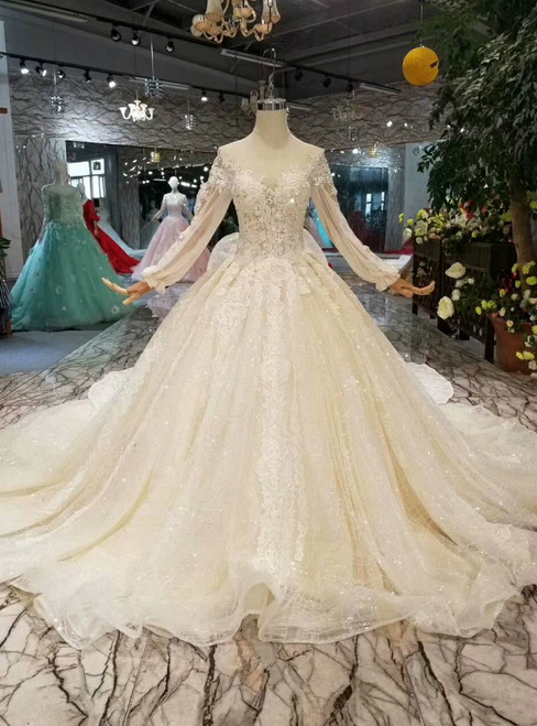 Light Champagne Ball Gown Tulle Sequins Long Sleeve Wedding Dress With Removable Train