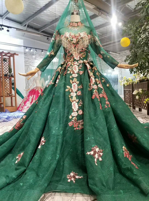 Dark Green Ball Gown Lace High Neck Long Sleeve Embroidery Appliques Wedding Dress