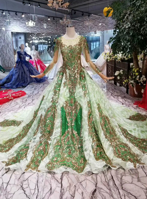Green Ball Gown Tulle Sequins Long Sleeve Wedding Dress With Train