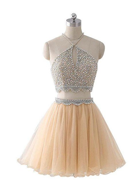 Champagne Tulle Two Piece Halter Homecoming Dress With Beading