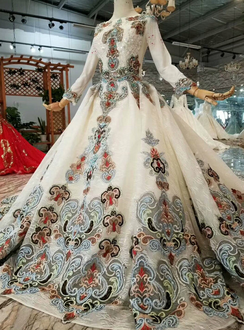 Light Champagne Ball Gown Long Sleeve Embroidery Wedding Dress With Train Crystal